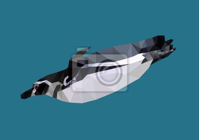 Fototapeta wielokątne Pingwin, poli niskie abstrakcyjne geometryczne zwierzę, Wektor il