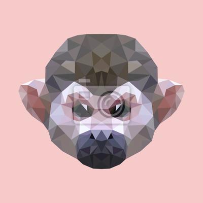 Fototapeta wielokątne szef małpa, wielokąt geometryczne zwierząt, wektor