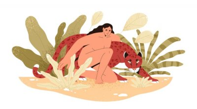 Fototapeta Wilderness naked woman hug jaguar at tropical bushes vector flat illustration. Predator and human together isolated. Contemporary concept of wild female nature, environment protection.
