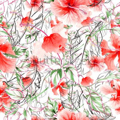 Fototapeta Wildflower kwiat róży wzór w stylu przypominającym akwarele. Pełna nazwa zakładu: róża, rosa, hulthemia. Aquarelle dziki kwiat dla tła, tekstury, opakowania wzór, rama lub granicy.