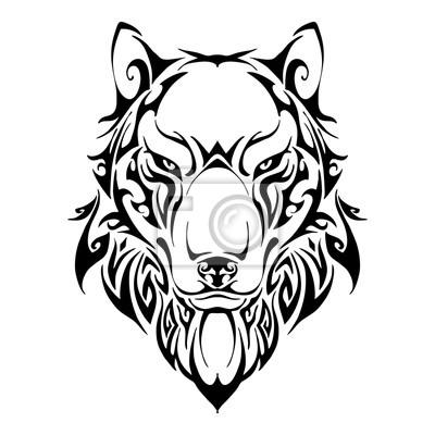 Fototapeta Wilk Bilans Głowy Symetrii Tribal Tatuaż Sylwetka Wektor Z Białym