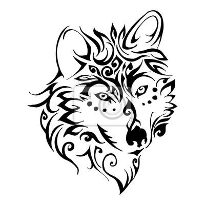 Fototapeta Wilk Głowy Tribal Tatuaż Wektor