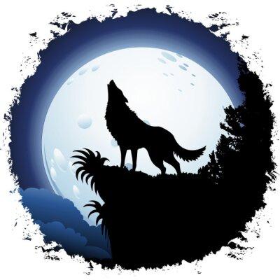 Fototapeta Wilk Wyjący w Blue Moon na grunge ramki
