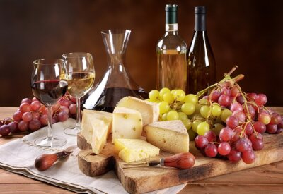 Fototapeta Wino, winogrona i ser