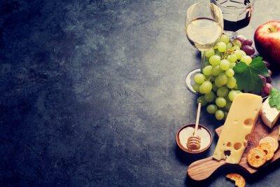 Fototapeta Wino, winogrona, ser i miód