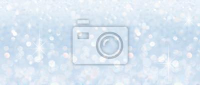 Fototapeta Winter christmas sparkling shiny silver bright glittering abstract bokeh background