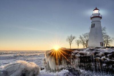 Fototapeta Winter Sunrise Marblehead Lighthouse