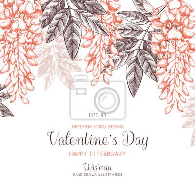 Wisteria Kwiat Tła Walentynki Karty Lub Zaproszenie Wzór Z Ręcznie