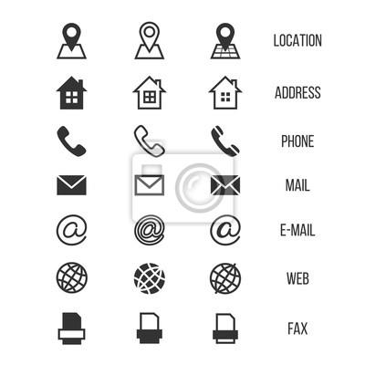 Fototapeta Wizytówka Wektorowe Ikony Domu Telefon Adres Telefon Fax