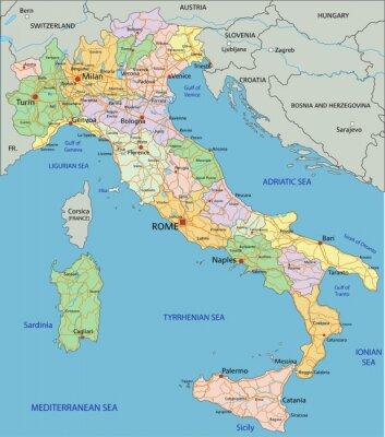 Fototapeta Włochy - Bardzo szczegółowe edycji mapa polityczna z oddzielnych warstwach.