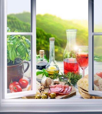 Fototapeta Włoskie jedzenie - przystawki (antipasti) w oknie
