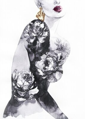 Fototapeta woman with flowers. beauty background. fashion illustration. watercolor painting