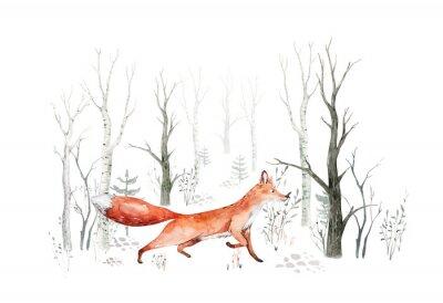 Fototapeta Woodland watercolor cute animals baby fox. Nursery bunny Scandinavian forest nursery fox design. Isolated character