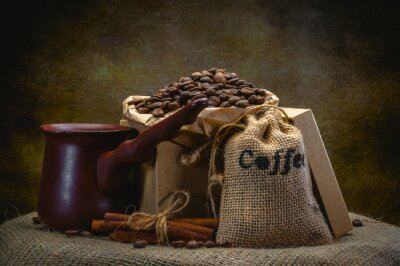 Fototapeta Worek kawy na ciemnym tle