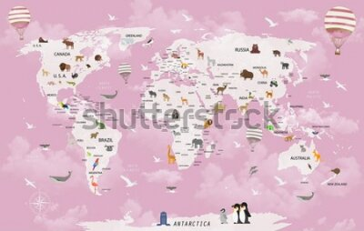 Fototapeta World map animals for child room wallpaper