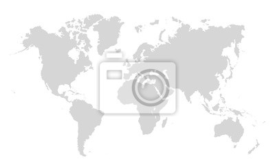 Fototapeta World map on white background. World map template with continents, North and South America, Europe and Asia, Africa and Australia