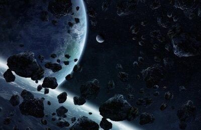 Fototapeta Wschód słońca nad grupą planet w przestrzeni kosmicznej