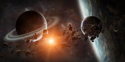 Fototapeta Wschód słońca nad odległym systemie planeta w przestrzeni 3D renderowania elementu