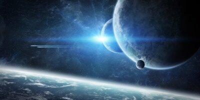 Fototapeta Wschód słońca nad planety Ziemi w przestrzeni kosmicznej