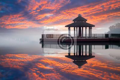 Fototapeta Wschód słońca z Sun Moon Lake, Tajwan
