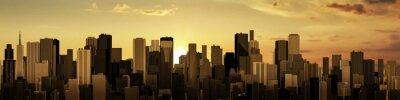Fototapeta Wschód-Zachód słońca panorama miasta / 3D render nowoczesnego miasta na wschodu lub zachodu słońca