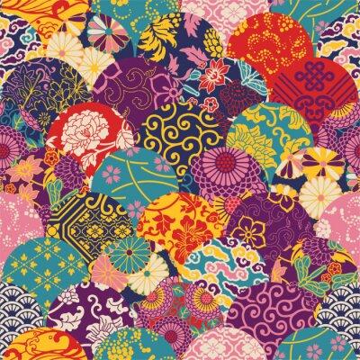 Fototapeta Wschodnia styl tkaniny patchwork, wektor szwu