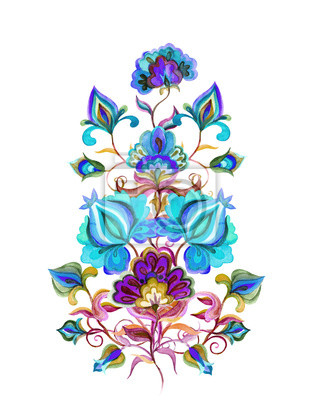 Fototapeta Wschodnioeuropejskie Dekoracyjne Kwiaty Etniczne Akwarelowa