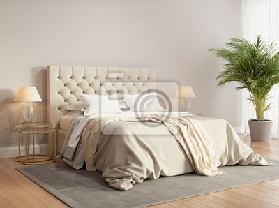 ad63a14f6a244b Współczesna beżowy sypialnia z szarym dywanie Fototapeta ...