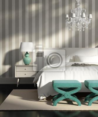 49e529e858225b Fototapeta Współczesna elegancki luksus szary sypialnia z tapetą w paski