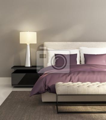 cd83b1a2dfd427 Współczesna szare i fioletowe luksusowy hotel sypialni Fototapeta ...