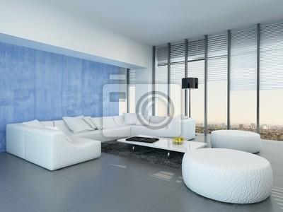 f929c465874410 Współczesna szary, niebieski i biały pokój dzienny Fototapeta ...