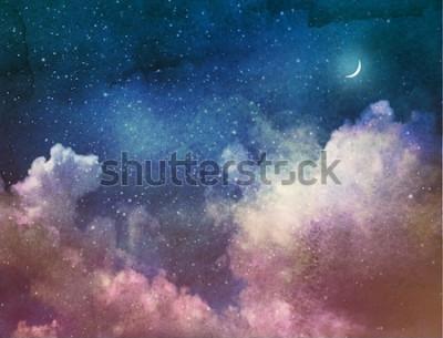 Fototapeta Wszechświat pełen gwiazd i księżyca. Akwarela