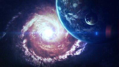 Fototapeta Wszechświat sceny z planet, gwiazd i galaktyk w kosmosie ukazujących piękno przestrzeni kosmicznej. Elementy dostarczone przez NASA