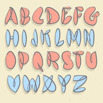 Fototapeta Wyciągnąć rękę alfabet. Ki satynowa niewymuszone Bubble Alphabet.