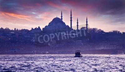 Fototapeta Wycieczka statkiem po Bosforze o zachodzie słońca. Istanbul o zachodzie słońca. Wieczór Istanbul. wyjazd turystyczny w Turcji.
