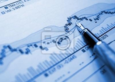 Wykres niebieskie tło finansowe