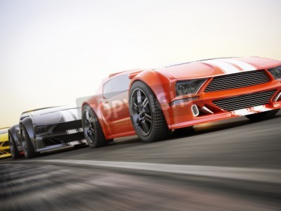 Fototapeta Wyścig, samochody egzotyczne sportowe wyścigi z motion blur. Generic niestandardowe zdjęcia realistyczne renderowania 3d.