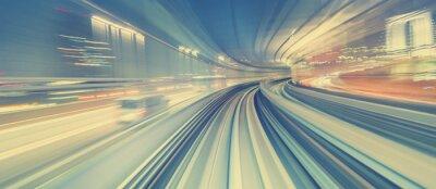 Fototapeta Wysoka prędkość koncepcji technologii poprzez jednotorowe Tokio