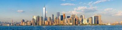 Fototapeta Wysoka rozdzielczość panoramiczny widok na centrum Nowego Jorku widziana z oceanu