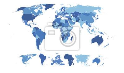 Fototapeta Wysoka Szczegółowa mapa świata