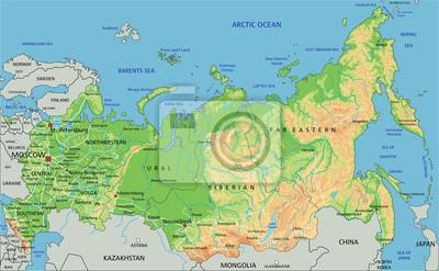 Wysoka Szczegolowy Rosja Mapa Fizyczna Z Etykieta Fototapeta