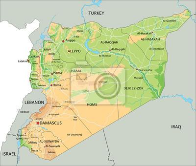 Wysoka Szczegolowy Syria Mape Fizyczna Z Etykieta Fototapeta