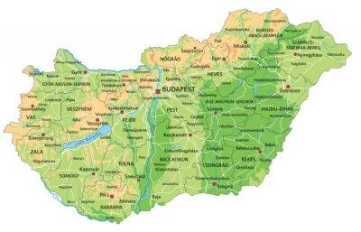 Wysoka Szczegolowy Wegry Mapa Fizyczna Z Etykieta Fototapeta