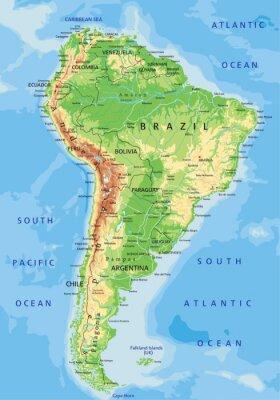 Fototapeta Wysokie szczegółowe Mapa fizyczna Ameryki Południowej z etykietowania.
