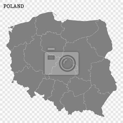 Wysokiej Jakości Mapa Polski Z Granicami Regionów Lub Powiatów