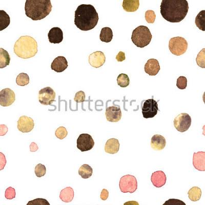 Fototapeta wzór akwarela kropki. tkanina, dachówka, tapeta, papier pakowy. pocztówka, baner lub abstrakcyjne tło. ręcznie utopić powtarzalny wzór w kolorowe kropki nierówny kształt