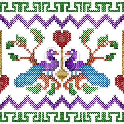 Fototapeta Wzór haftu krzyżowego haftu na wzór bezszwowych tekstur