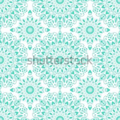 Fototapeta Wzór mandali. Czeski styl. Tło z okrągły ornament, ozdobny medalion indyjski, element streszczenie kwiat. Projekt wektor