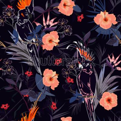 Fototapeta Wzór piękny tropikalny kwiatowy. Wektory i wzory w kolorach egzotycznych lasów allover projekt, wektor wzór dla mody, wektory i wszystkie wydruki na granatowy.