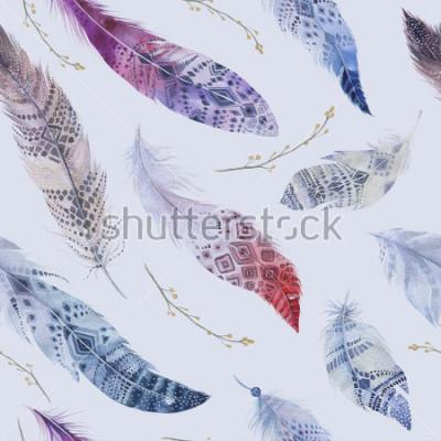 Fototapeta Wzór piór. Akwarela eleganckie tło. Nadruk w kolorze ekologicznym w kolorze organicznym. Tekstura wielostrzałowa kolor tekstura tekstura z rysunkiem modna tapetą. Ilustracja ptak.